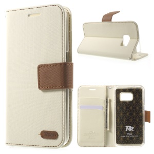 ROAR CORÉIA Diary Leather Wallet Cover para Samsung Galaxy S7 - branco