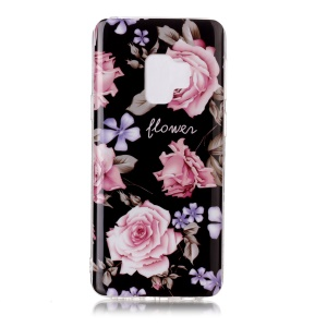 IMD Patterned TPU Mobile Casing Cover for Samsung Galaxy S9 SM-G960 - Pink Rose Flower