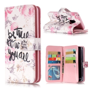 Pattern Printing 9-Slot Wallet Stand Leather Case for Samsung Galaxy S9 G960 - Words and Flowers