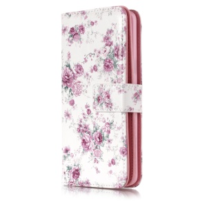 Patterned Multiple Slots Stand Leather Mobile Case for Samsung Galaxy S9 G960 - Blooming Flowers