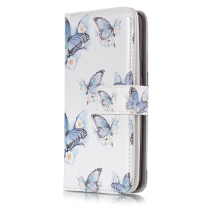 Pattern Printing Wallet Leather Protector Case for Samsung Galaxy S9 G960 - Blue Butterflies