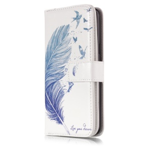 Patterned Wallet Stand Leather Protector Cover for Samsung Galaxy S9 G960 - Feather and Birds