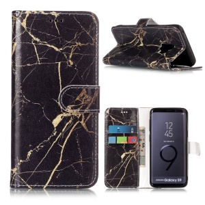 Patterned PU Leather Wallet Stand Phone Casing for Samsung Galaxy S9 G960 - Gold Color Marble