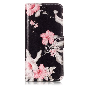 Patterned PU Leather Wallet Stand Protective Shell for Samsung Galaxy S9 G960 - Pink Flower
