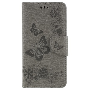 Imprinted Butterfly Flowers Wallet Leather Stand Cover for Samsung Galaxy A8 (2018) - Grey