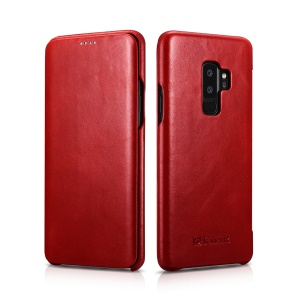 ICARER Curved Edge Vintage Genuine Leather Phone Cover for Samsung Galaxy S9 Plus SM-G965 - Red