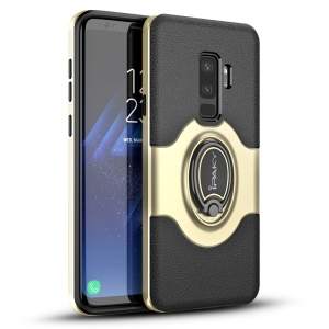 IPAKY PC + TPU Hybrid Back Case with Ring Holder Stand for Samsung Galaxy S9 Plus SM-G965 - Gold