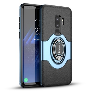 IPAKY PC + TPU Hybrid Phone Casing with Ring Holder Stand for Samsung Galaxy S9 Plus SM-G965 - Blue