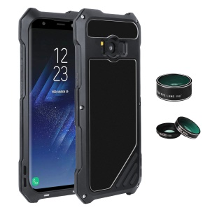 For Samsung Galaxy S8+ G955 Heavy Duty Shockproof Metal Case with Fisheye/Wide-angle/Macro Lens - Black