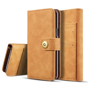Detachable 2-in-1 Vintage Style Split Leather Wallet Phone Case for Samsung Galaxy S9 SM-G960 - Brown
