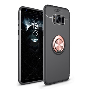 Magnetic Finger Ring Kickstand TPU Phone Shell for Samsung Galaxy S8 G950 - Black / Rose Gold