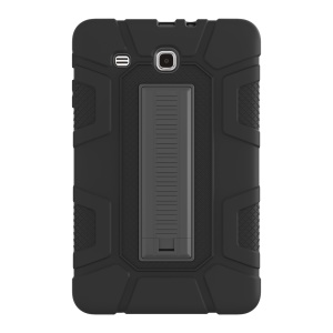 Shock Proof Anti-dust Hybrid TPU + PC Protective Case with Kickstand for Samsung Galaxy Tab E 9.6 T560 - Black
