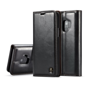 CASEME Oil Wax Leather Card Holder Case for Samsung Galaxy S9 G960 - Black
