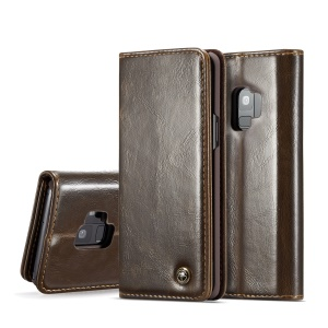 CASEME Oil Wax Leather Folio Cover Case for Samsung Galaxy S9 G960 - Brown