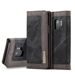 CASEME Canvas Skin Leather Wallet Casing for Samsung Galaxy S9 G960 - Black