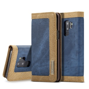 CASEME for Samsung Galaxy S9+ G965 Canvas Skin Leather Wallet Mobile Flip Cover Accessory - Blue