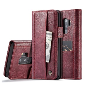 CASEME Vintage Style Card Slots Wallet PU Leather Cover for Samsung Galaxy S9 Plus SM-G965 - Wine Red