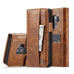 CASEME Vintage Style Multiple Card Slots PU Leather Mobile Shell for Samsung Galaxy S9 Plus SM-G965 - Brown