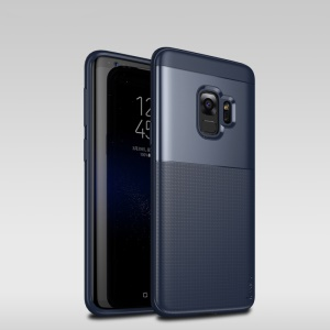 IPAKY PC + TPU Combo Grid Pattern Case Accessory for Samsung Galaxy S9 G960 - Dark Blue
