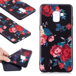 Embossment Soft TPU Mobile Phone Case for Samsung Galaxy A8 (2018) - Roses