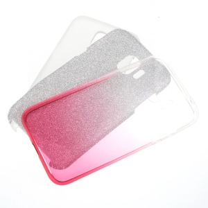 Gradient Color PC TPU Hybrid Back Cover + Flash Powder Paper for Samsung Galaxy J2 Pro 2018 - Rose