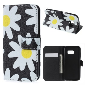 Wallet Leather Stand Cover for Samsung Galaxy S7 - Daisy Flower