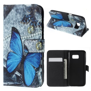 Wallet Leather Stand Cover for Samsung Galaxy S7 - Blue Butterfly