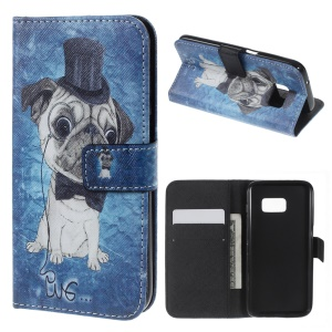 Wallet Leather Flip Cover for Samsung Galaxy S7 - Pug