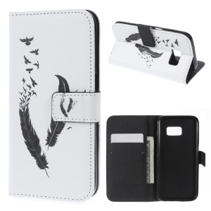 Wallet Leather Flip Case for Samsung Galaxy S7 - Feather & Birds