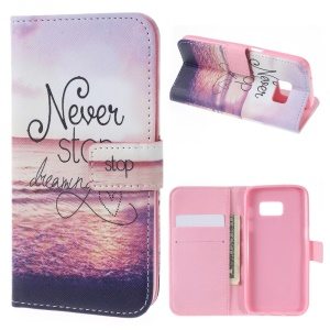 Wallet Leather Cover for Samsung Galaxy S7 - Quote Never Stop Dreaming