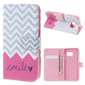 Wallet Leather Protective Case for Samsung Galaxy S7 - Chevron & Smile