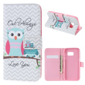 Wallet Leather Bracket Cover for Samsung Galaxy S7 - Lovely Owls