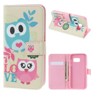 Wallet Leather Phone Cover for Samsung Galaxy S7 - Sweet Owl Lovers