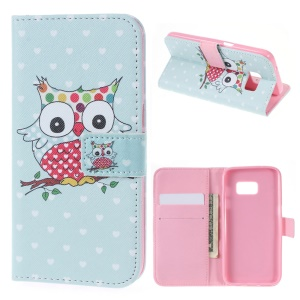 Wallet Leather Shell Cover for Samsung Galaxy S7 - Owl & Hearts
