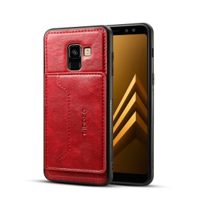 Crazy Horse Texture Leather Coated TPU Card Holder Kickstand Cover for Samsung Galaxy A8 (2018) - Red