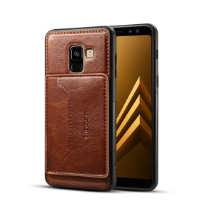 Crazy Horse Texture Leather Coated TPU Mobile Cover for Samsung Galaxy A8 (2018) - Coffee