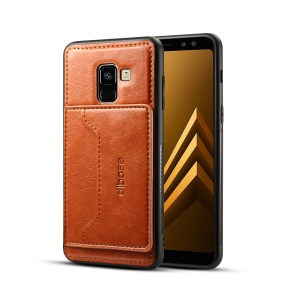For Samsung Galaxy A8+ (2018) Crazy Horse Texture Leather Coated TPU Mobile Case - Brown