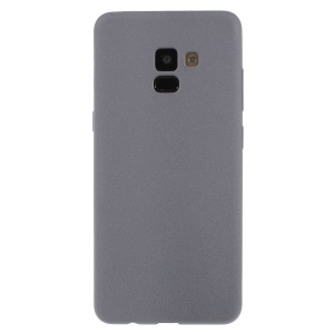 Skin-touch Matte TPU Jelly Protective Casing for Samsung Galaxy A8 Plus (2018) - Grey