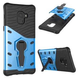 Armor PC + TPU Hybrid Protection Case with Kickstand for Samsung Galaxy A8+ (2018) - Blue
