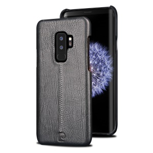 PIERRE CARDIN Stitched Genuine Leather Coated PC Phone Case for Samsung Galaxy S9+ G965 - Black