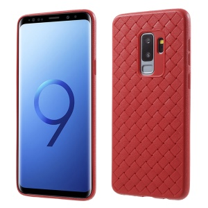 Woven Pattern TPU Ultra Thin Phone Back Cover for Samsung Galaxy S9 Plus G965 - Red