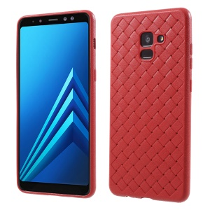 Woven Pattern TPU Ultra Thin Phone Back Cover for Samsung Galaxy A8 (2018) - Red