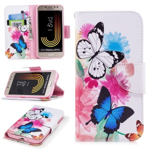 Pattern Printing Magnetic Leather Wallet Case for Samsung Galaxy J2 Pro 2018 - Vivid Butterflies