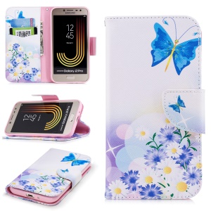 Pattern Printing Stand Leather Wallet Case for Samsung Galaxy J2 Pro 2018 - Blue Butterfly and Flowers