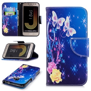 Pattern Printing Wallet Leather Phone Accessory Casing with Stand for Samsung Galaxy J2 Pro 2018 - Roses and Butterflies
