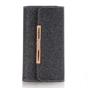 For Samsung Galaxy S9 Plus Detachable 2-in-1 Glitter Powder Diamond PU Leather Wallet + TPU Back Case - Black