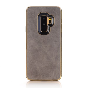 Crazy Horse Texture PU Leather Coated Plated TPU Cover for Samsung Galaxy S9+ G965 - Grey