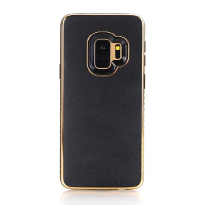 For Samsung Galaxy S9 G960 Crazy Horse Texture PU Leather Coated Plated TPU Phone Case - Black