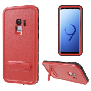 REDPEPPER Dustproof Snowproof Waterproof TPU + PC Case with Kickstand for Samsung Galaxy S9 SM-G960 - Red