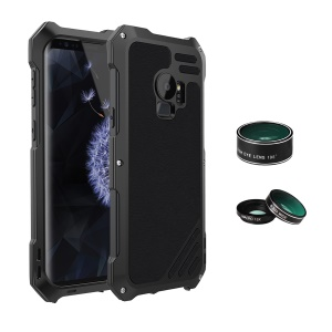 Heavy Duty Shockproof Metal Casing with Fisheye/Wide-angle/Macro Lens for Samsung Galaxy S9 SM-G960 - Black